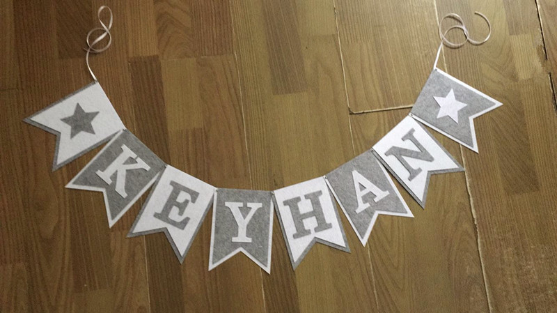 Image 5 - New Custom made Grey Gray White Star Name Bunting Banner Boy Baby shower Birthday Party Decoration Nursery Garland Photo Propsprops photoprops partyprops decoration -