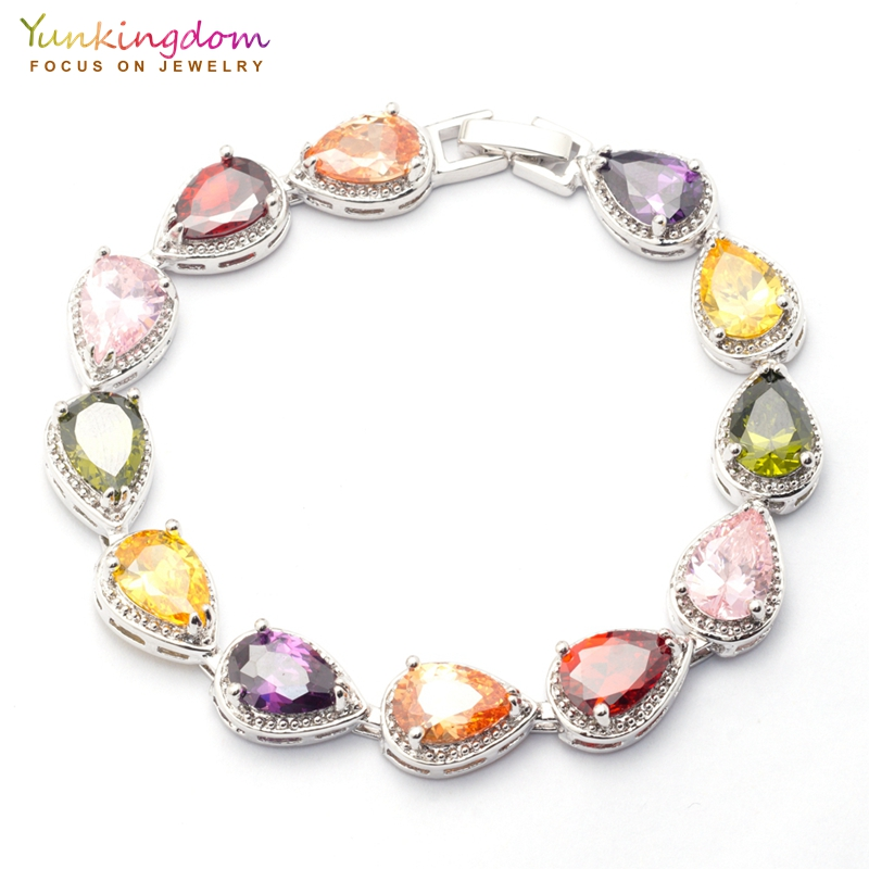 Yunkingdom Holiday Gifts Crystal Bracelets&Bangles for Women Colorful Water Drop Zircon Fashion Wedding Jewelry Chain Bracelet vintage faux crystal water drop sweater chain jewelry for women