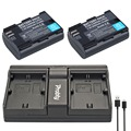 PROBTY 2pcs LP-E6 LP E6 Camera Battery + USB Dual Charger for Canon EOS 5D 5D2 5DS R Mark II 2 III  6D 60D 60Da 7D 7D2 70D 80D