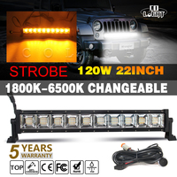 CO LIGHT 22Inch 120W Led Light Bar Amber+White Led Work Light 12V for Niva 4x4 Offroad Led Bar Auto Driving Warning Flash Light