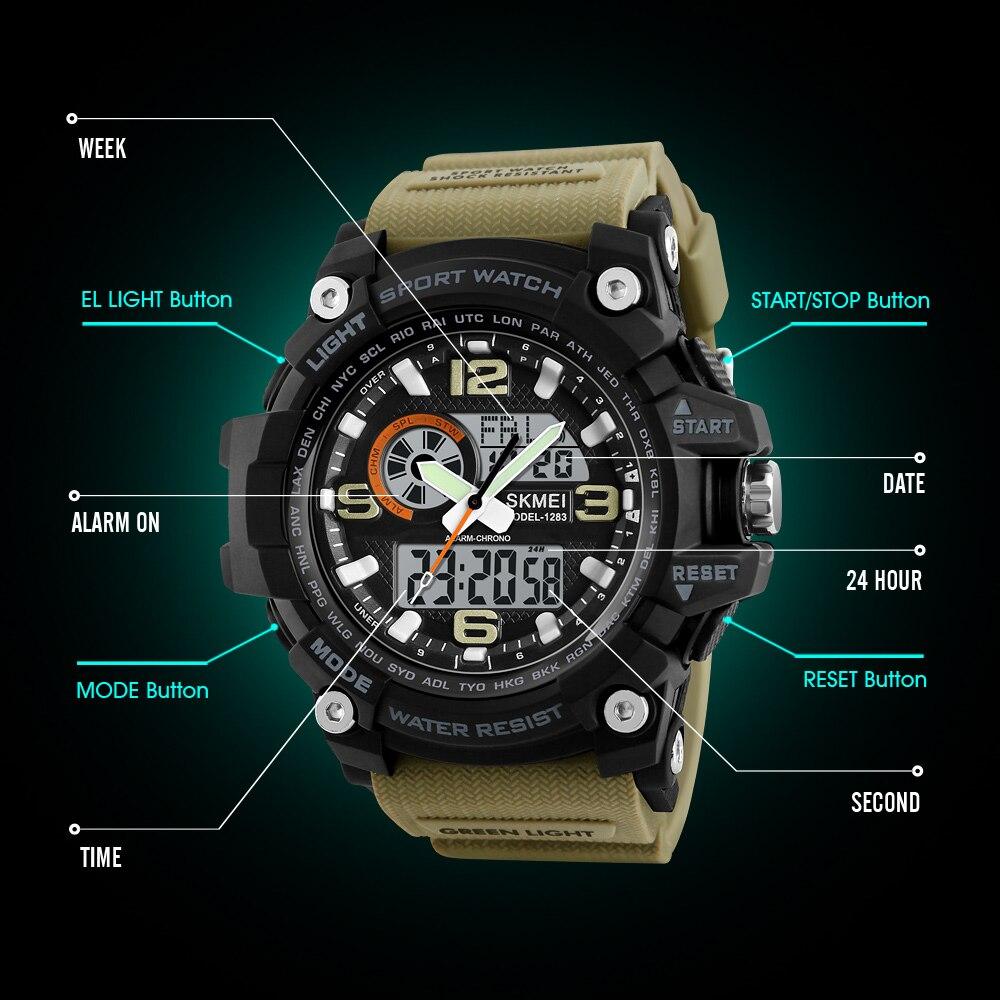 Image 3 - Skmei novo s choque masculino esportes relógios grande dial  relógio digital de quartzo para homens marca luxo led militar à prova  dwaterproof águawatch bigwatch forwatches for men