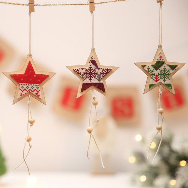 3pcs Christmas Wooden Stars Pendants Ornaments Snowflake Cloth Wood Arts Crafts Xmas Tree Ornament Christmas