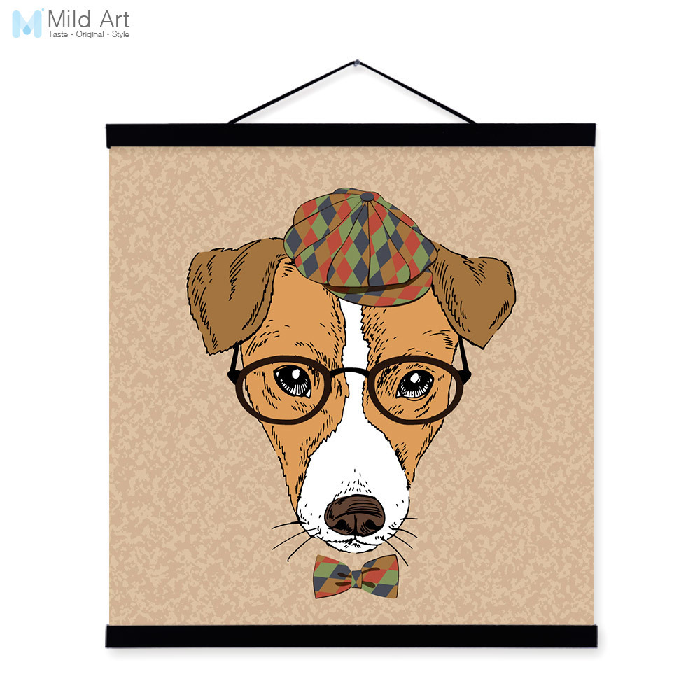 Dog Head Gentleman Animal Portrait <font><b>Hipster</b></font> A4 Wooden Framed Canvas Painting Wall Art Print Picture Poster Scroll Room <font><b>Home</b></font> <font><b>Decor</b></font>
