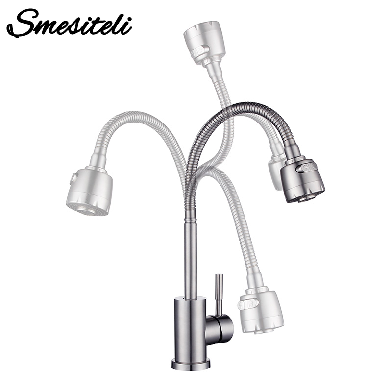 Pull-Down Bar/Prep Kitchen Faucet with Dual Function Spray Head 360 Swiveling Hot And Cold Water Tap Includes Lifetime Warranty