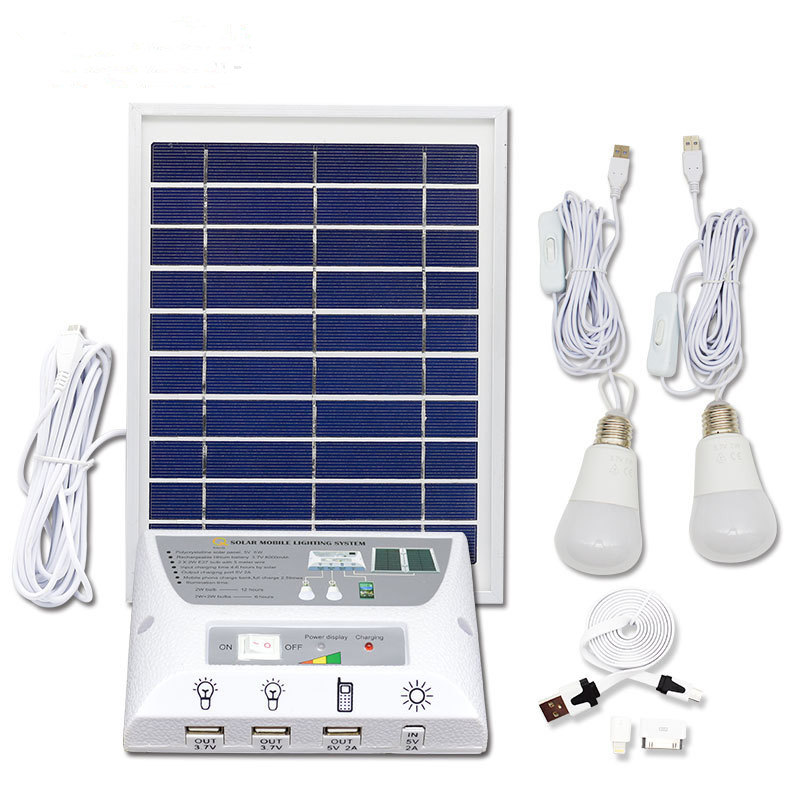 IP65 Solar Powered Home Outdoor Camping Tent Eemergency Charging Mobile Lighting System Portable light 2LED Bulbs