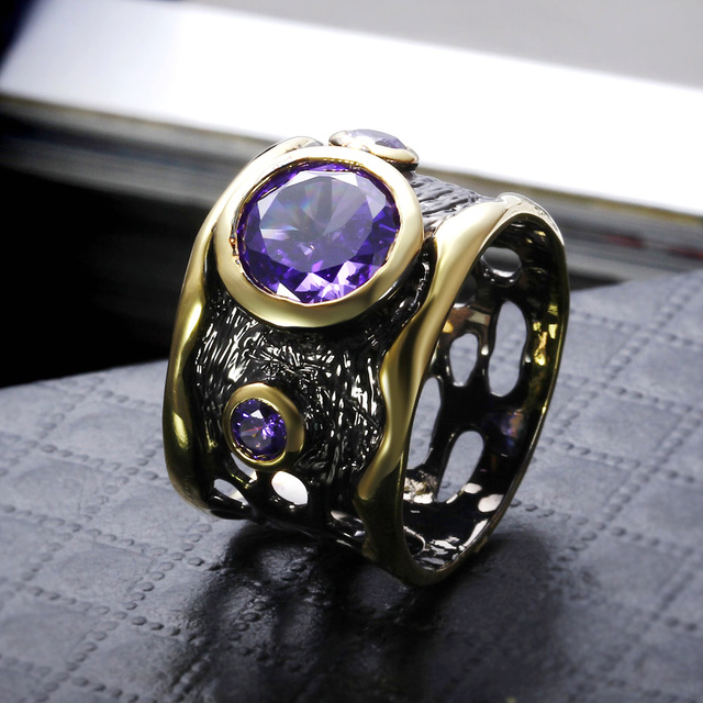 New Big Round Purple stone CZ Crystal rings Black & gold color