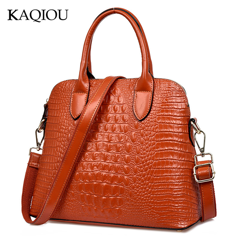 KAQIOU Authentic Women Crocodile Bag 100% Genuine Leather Women Handbag Hot Selling Tote Women Bag Large Brand Bags Luxury