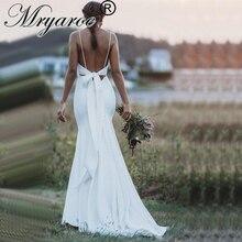 Элегантное крепированное свадебное платье Русалка Mryarce, гибкие Свадебные платья с бантом и открытой спиной, свадебные платья