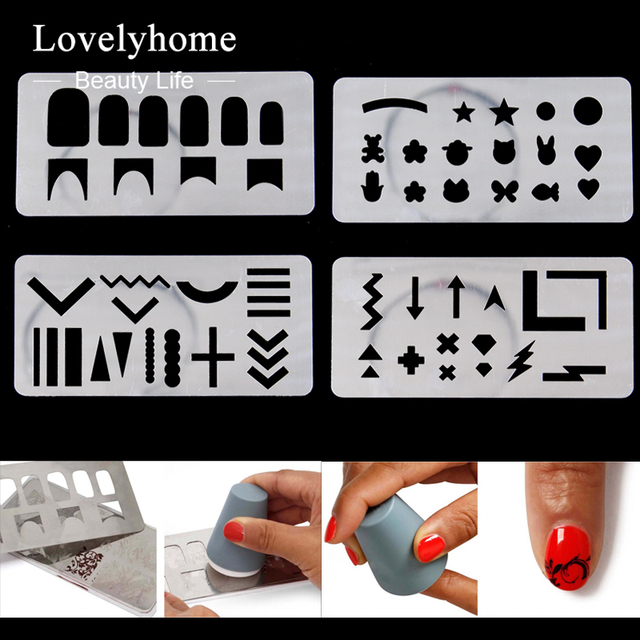 4pcs Nail Stamping Decal Making Guide Templates Stainless Steel