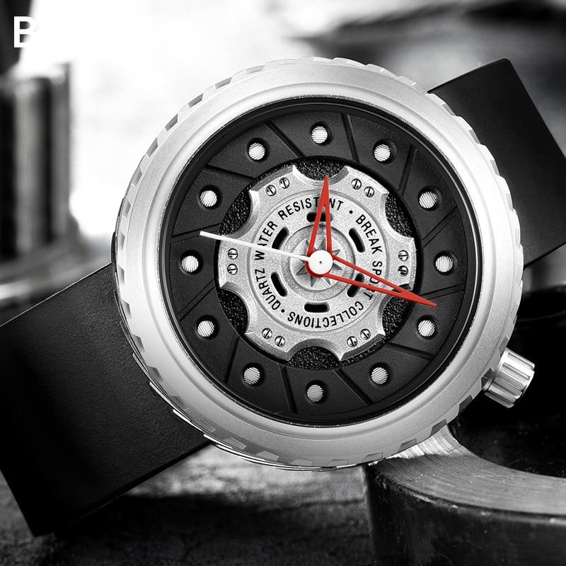 BREAK Geek Creative Fashion Casual Quartz Sport Watches for Men Rubber Leather Strap Top Luxury Brand Waterproof Gift WristwatchBREAK Geek Creative Fashion Casual Quartz Sport Watches for Men Rubber Leather Strap Top Luxury Brand Waterproof Gift Wristwatch