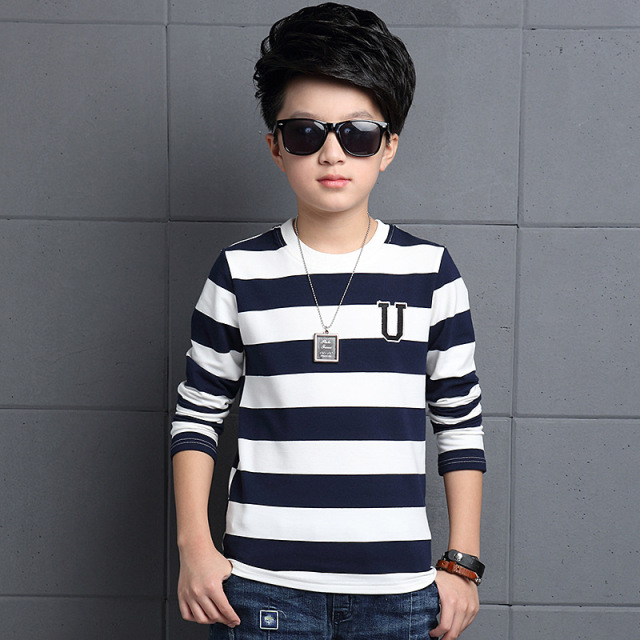 Boys cotton long-sleeved striped T-shirt 2016 autumn fashion baby boy clothing big virgin shirt 6/7/8/9/10/11/12/13 years