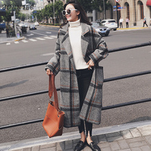 Blends Women Elegant High Quality Plaid Pockets Sweet Womens Long Coats Warm Turn-down Collar Loose Korean Style Ladies Outwear