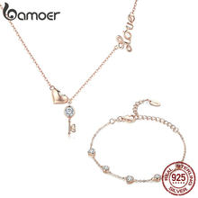 BAMOER 925 Sterling Silver Key Lock of Love Gold Color Necklaces Bracelets Jewelry Sets Wedding Authentic Silver Jewelry Set(China)