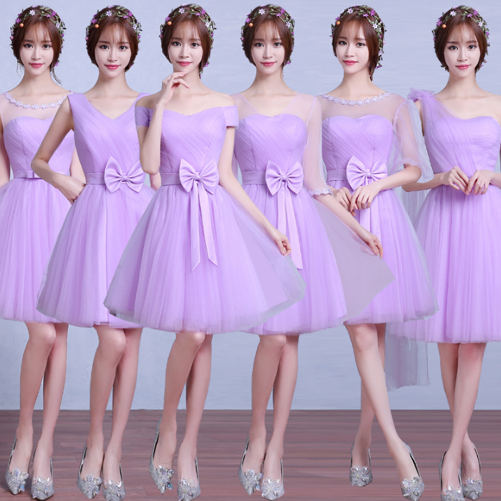 Lavanda chica corto de dama de honor criada de las novias vestidos ...
