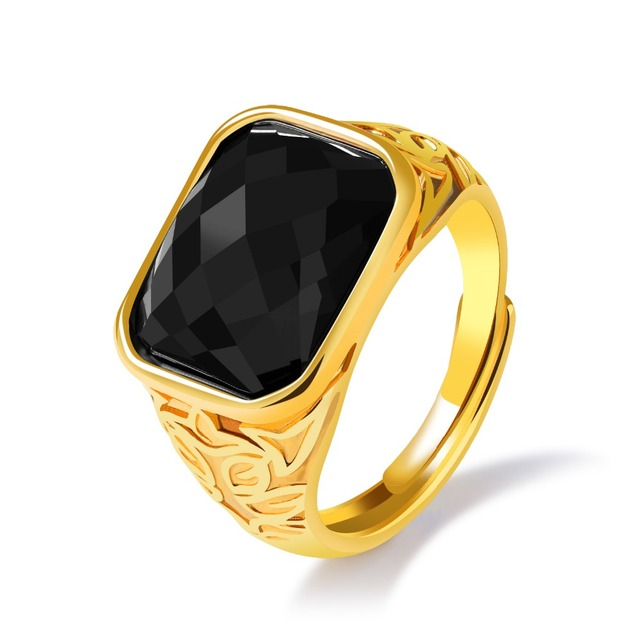 Trendy Red Black Stone Shiny Wedding Rings Men New Design Gold Metal