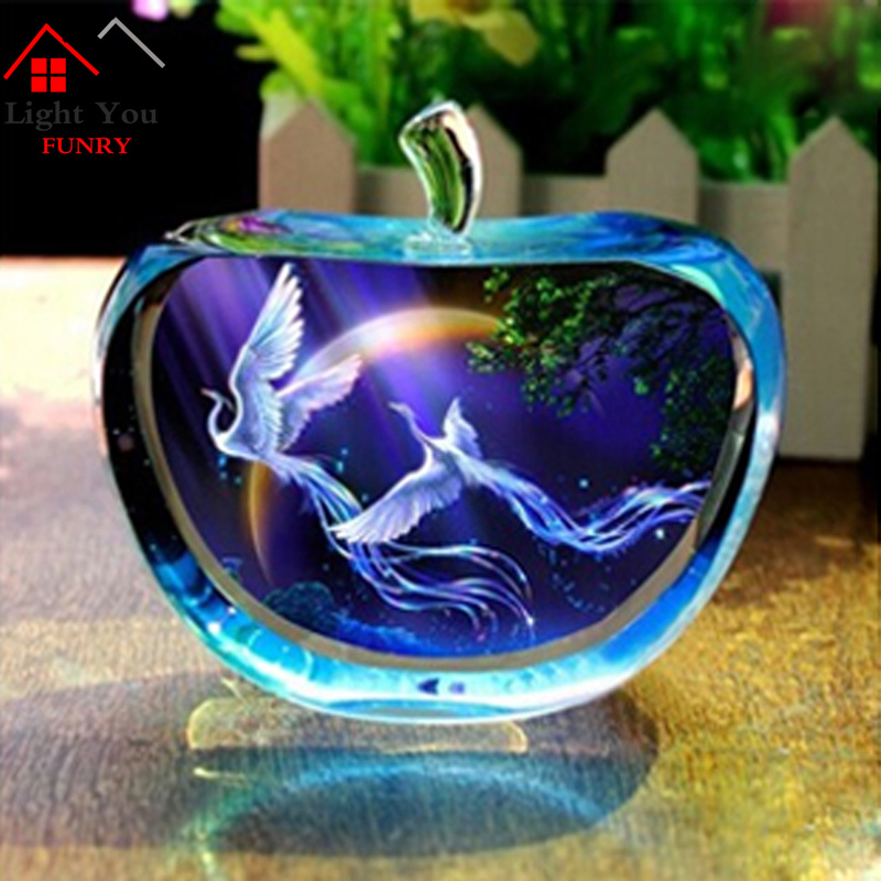 Accessories:  12 Constellations Statuettes Glitte Crystal Glass Apple Figurines Miniature Angel figurine Ornaments Home Decoration accessories - Martin's & Co