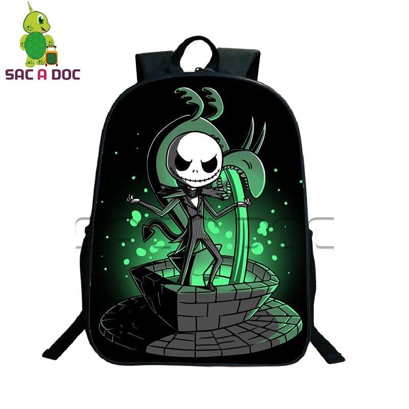 4d0848320219 US $17.24 25% OFF|The Nightmare Before Christmas Backpack Women Men Travel  Bags Teens Boys Girls Jack Sally School Bags Book Bag Gift Backpacks-in ...