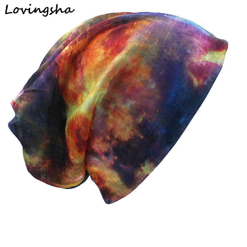 LOVINGSHA Brand Autumn And Winter Dual-use Hats For Ladies thin Galaxy Design Skullies And Beanies Women Scarf Face Mask HT012(China)