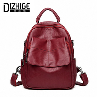 DIZHIGE Brand High New Quality PU Leather Women Backpack Vintage Backpack For Teenage Girls Casual Bags