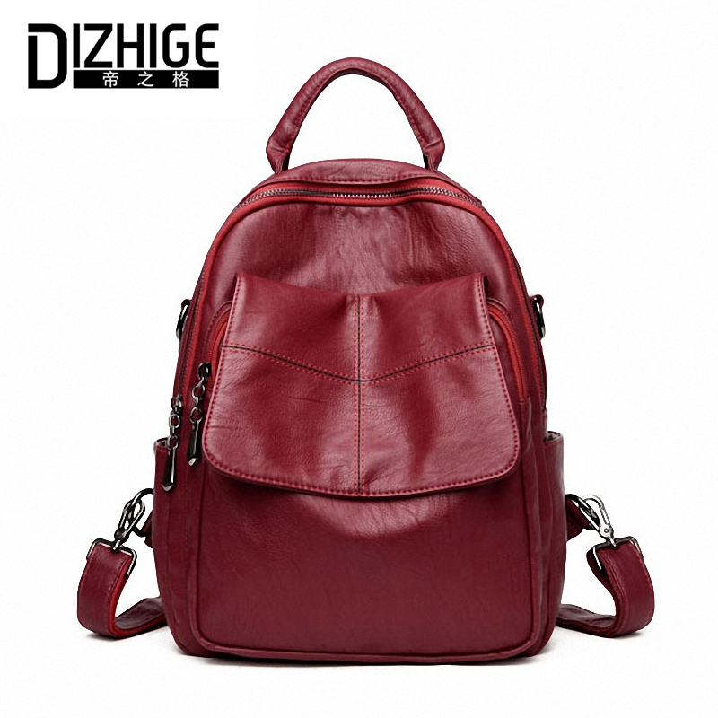 DIZHIGE Brand High New Quality PU Leather Women Backpack Vintage Backpack For Teenage Girls Casual Bags Female Shoulder Bag 2017 dizhige brand women backpack high quality pu leather school bags for teenagers girls backpacks women 2018 new female back pack