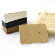 100PCS 2.5x3.5cm Blank Kraft Paper Jewelry Display Stud Earring Cards Hang Favor Label Tag For Jewelry Making Diy Accessories(China)