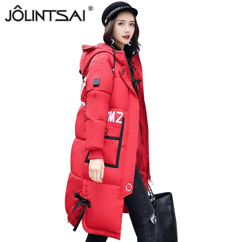 JOLINTSAI 2017 New Winter Coat Women Parka Long Thick Warm Jacket Hooded Parkas Female Cotton-padded Outerwear Clothing