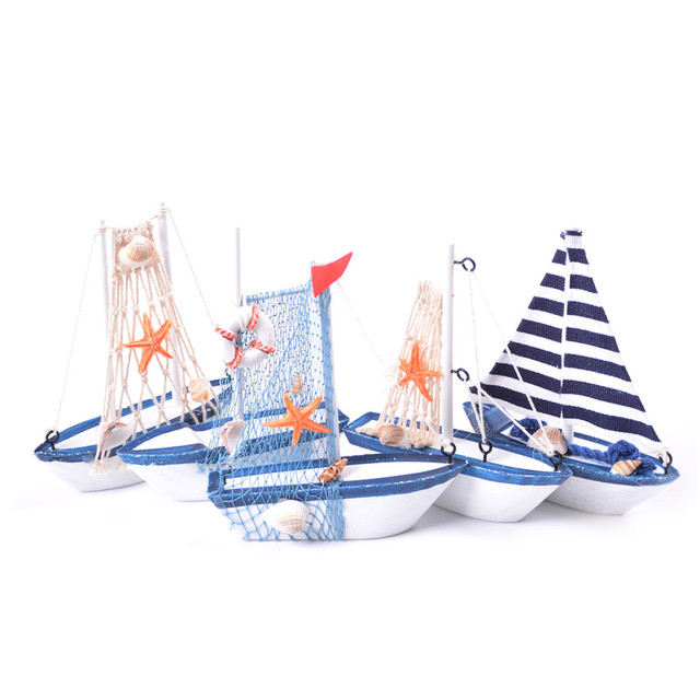 Miniature Figurine Home Office Sailboat Decor Wooden Ship Model Wood Boat Sailing Nautical Decoration