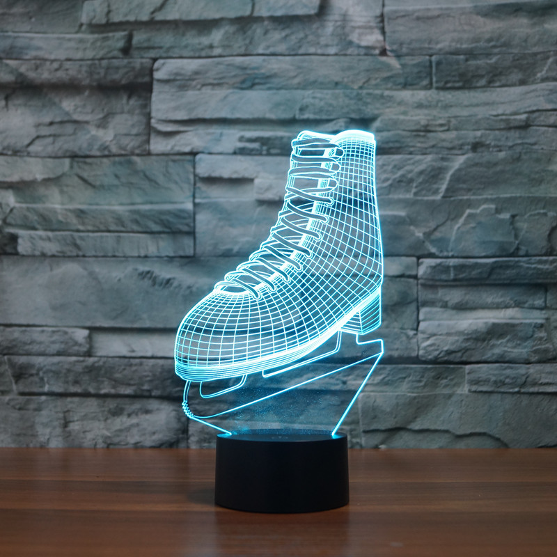 Hot NEW 7color changing 3D Bulbing Light Electric Roller <font><b>skates</b></font> illusion LED lamp creative <font><b>action</b></font> <font><b>figure</b></font> toy Christmas gift