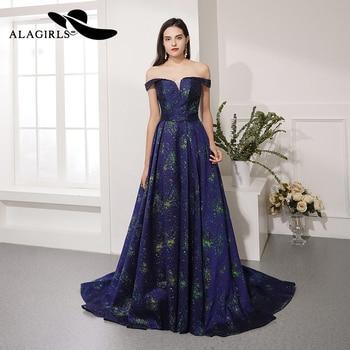 Alagirls Hot Sale A Line Evening Dress V-Neck Evening Gown Floral Printing Prom Dress Vestido de noche robe de soiree