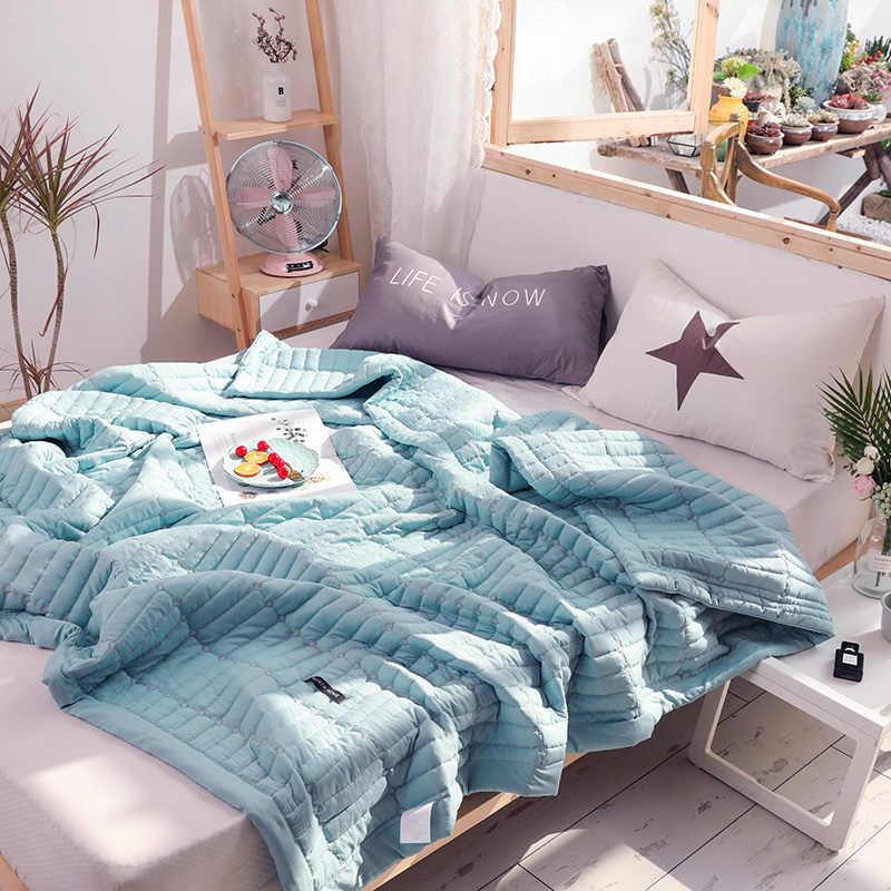 Macaron Einfarbig Bettdecke Weichen Sommer Tröster Quilts Waschbar Bett Quilt Klimaanlage Quilt Bettdecke Erwachsene Sommer Quilt