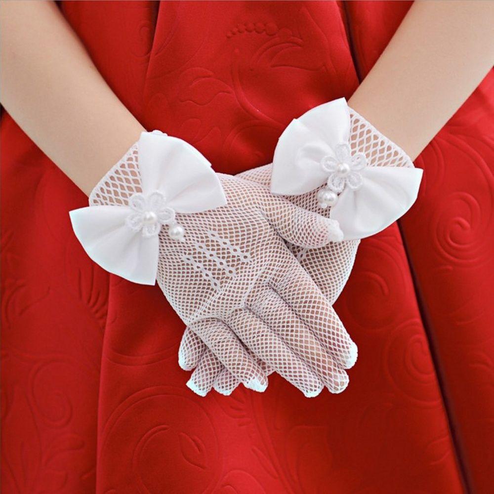 Art Und Weisequalitäts Partei Creme Spitze Perle Fischnetz Handschuhe Kommunion Blume Kinder Mädchen Niedlich Bowknot Handschuhe