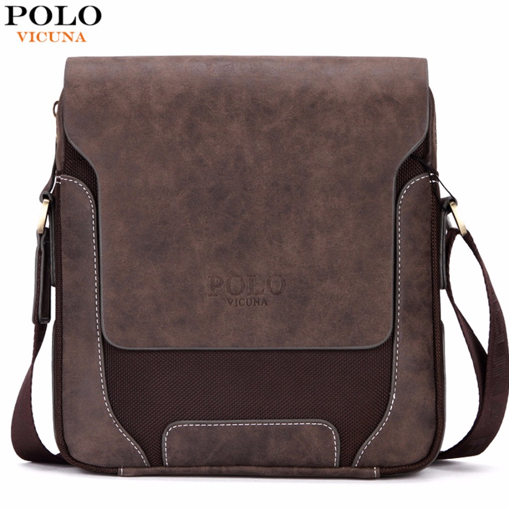 VICUNA POLO Vintage Casual Patchwork Durable Oxford Man Bag With Leather Cover Fashion Mens Travel Bag Fashion Crossbody Bag Man