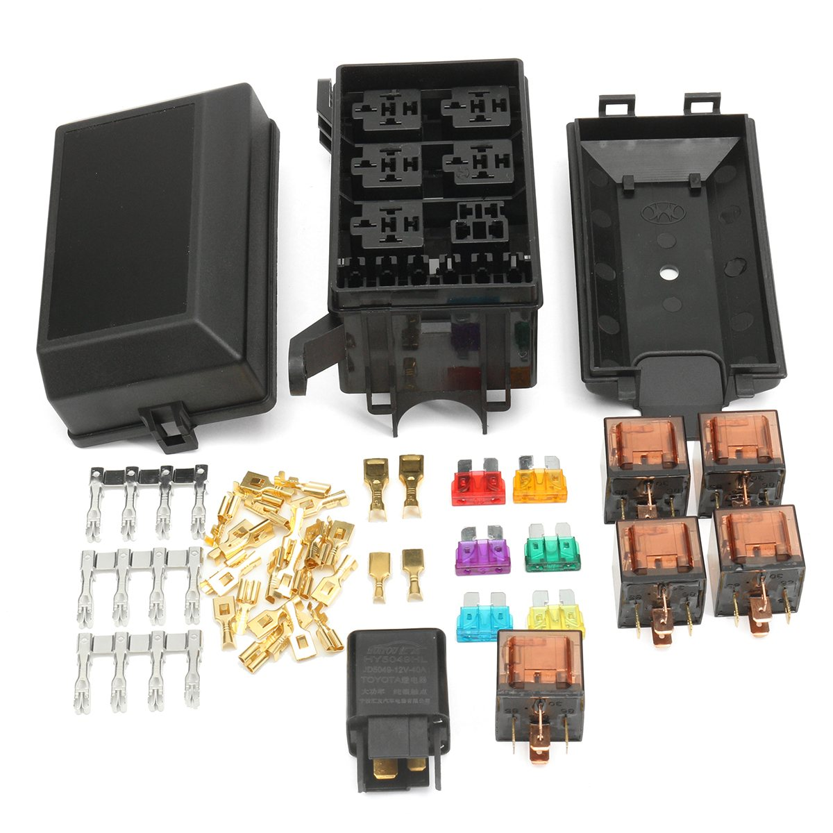 Car Fuse Box Prices : Set auto car fuse box relay socket holder road
