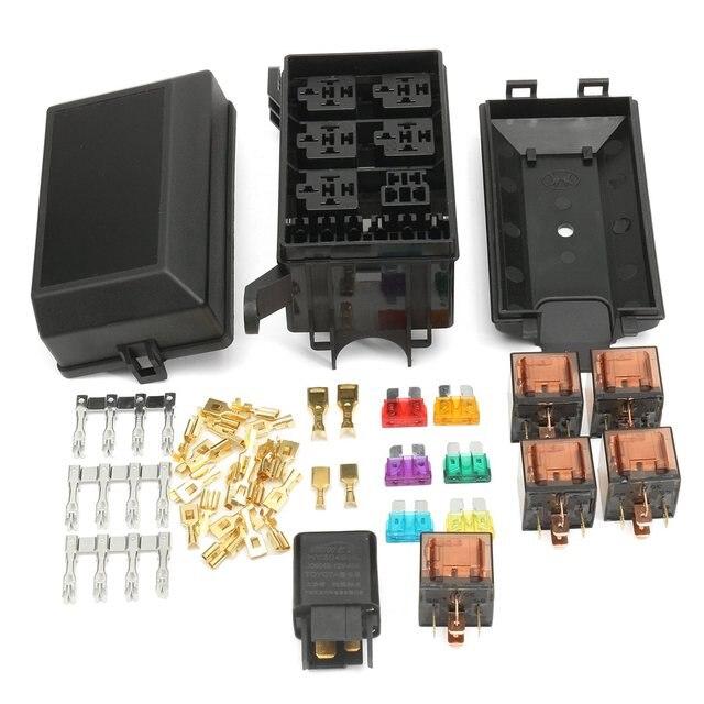 1 set auto car fuse box 6 relay socket holder 5 road insurance residential fuse boxes 1 set auto car fuse box 6 relay socket holder 5 road insurance holder 5x12v 80a