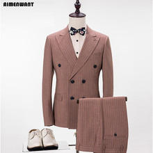 AIMENWANT NEW Custom Men's Suit Slim Fit Double Breasted Brown Camel Prom Suit Blazer Fashion Man Dinner Party Dress Suits 3pcs