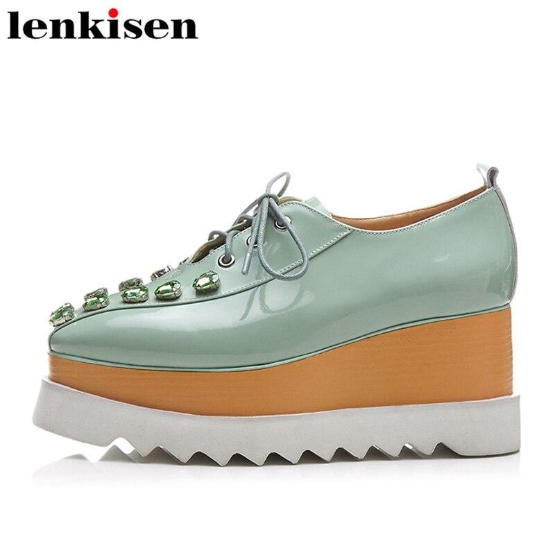 Lenkisen 2018 crystal lace up genuine leather platform round toe sweet elegant causal shoes wedge high heels women pumps L01