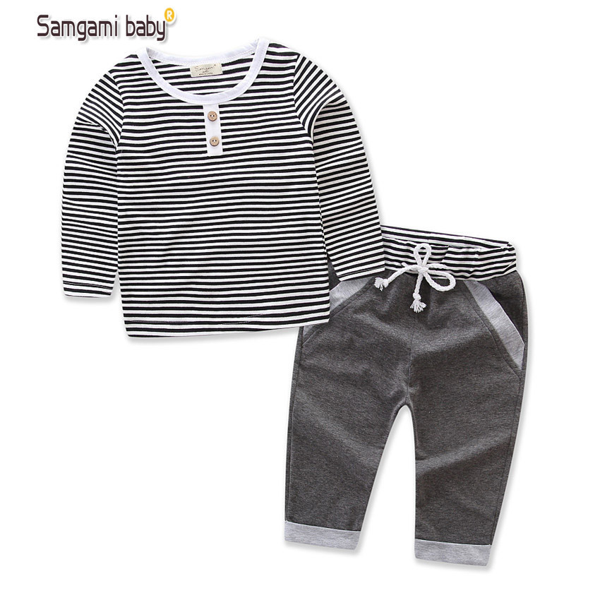 2018 Grey Striped baby girl Boys clothes set Baby Boy Girl Long sleeve t shirt+Pants Clothing Sets Spring and autumn wear baby boy girl clothing set high quality cotton kids children clothes pullover hooded suit for boy girl long sleeve spring sets