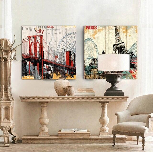 Online Shop Hout Gebouw Brooklyn Bridge London Eye Canvas Art muur ...