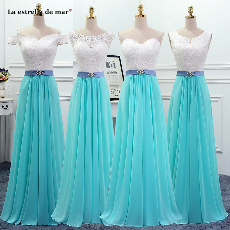 Vestido dama de honra new lace and chiffon Boat Neck short sleeve a Line 4 style white turquoise with   bridesmaid     dresses