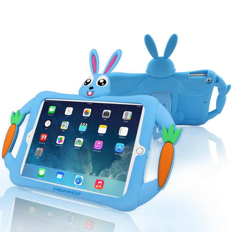Silicone Rabbit Case for new iPad 2018 2017 air 1 Soft Cover Tablet Stand Holder for iPad a1893 a1954 a1822 a1823 9.7 inch