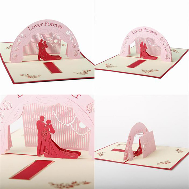 2017 new pop up foldable greeting card wedding invitations sakura