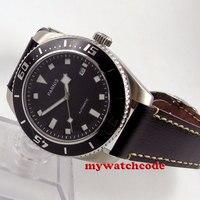 43 мм Парнис черный циферблат черный ободок miyota автоматические Дайвинг мужские часы 592B