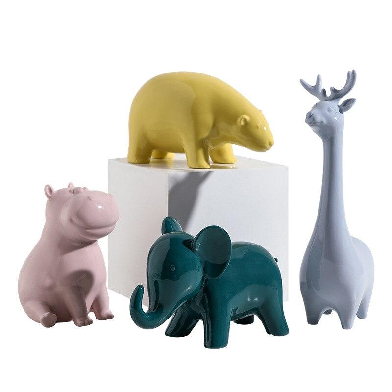 Ceramic Figurine Miniature Hippopotamus Wild Animal Handmade Craft Decor Hippo