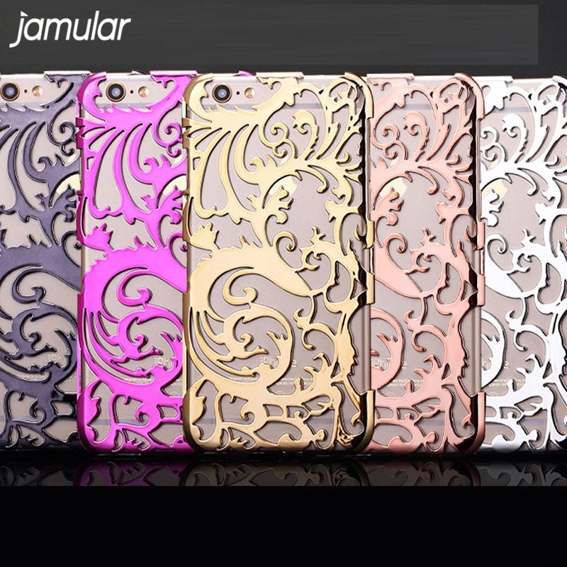 JAMULAR Artistic Carving Hollow Plating Phone Case For iPhone 8 7 Plus Plastic Back Cover Shell for iPhone 6S 6 Plus SE 5S Case