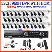CCTV 32ch D1 Real-Time Standalone DVR Kit with HDMI 32pcs 900TVL Security Cameras Home CCTV Systems 32ch DVR Kit