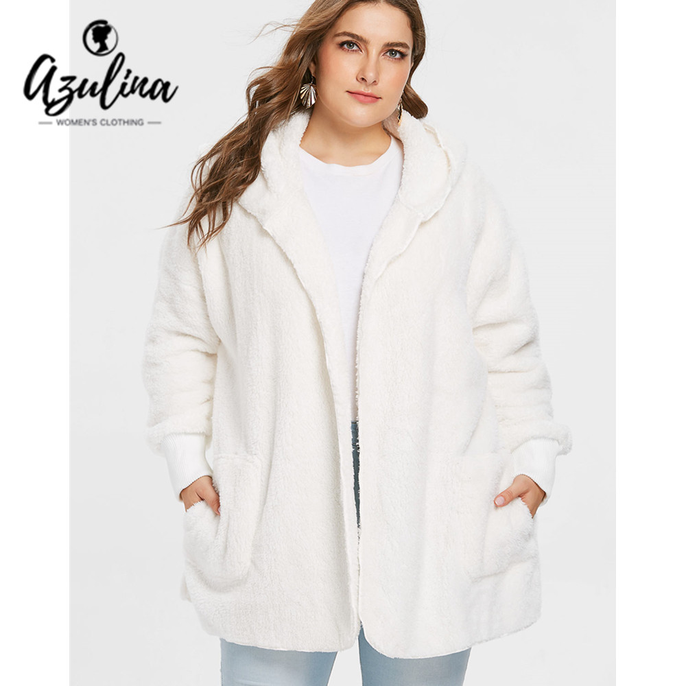 AZULINA Plus Size Collarless Faux Fur Coat Women