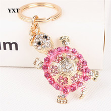 Tortoise Turtle Lovely Cute Crystal Rhinestone Charm Pendant Purse Bag Car Key Ring Keychain Party Creative Birthday Gift