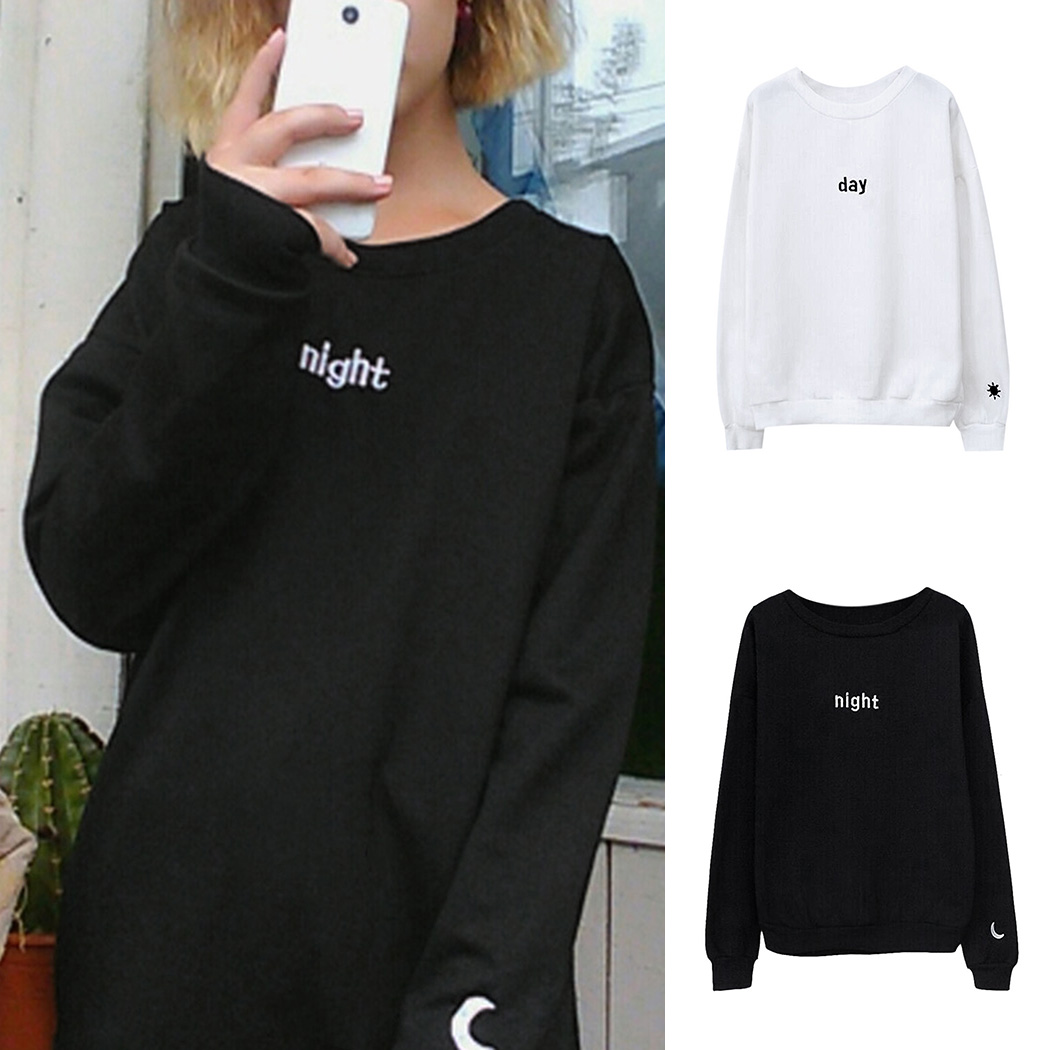Frauen Tag Nacht Brief Hoodies Harajuku Sonne Mond Gedruckt Sweatshirt Top Mode Damen Langarm Lose Pullover Sudadera Mujer