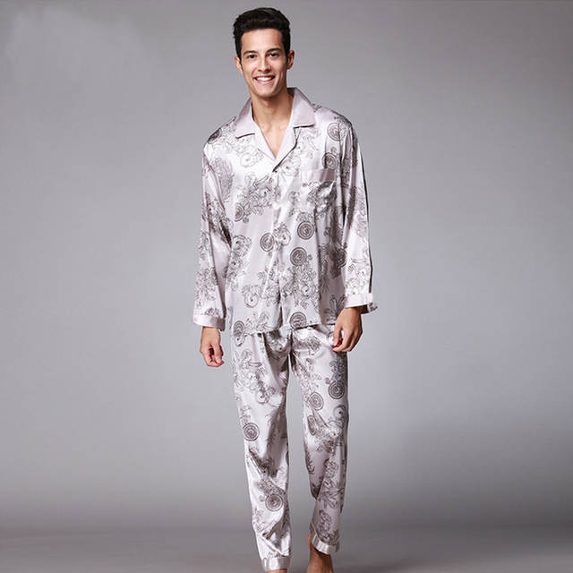 b5a3810657 Online Shop Men Silk Like Pajamas set Autumn Winter Pyjama suit Full  Sleeved Chinese Traditional Printed Rayon Sleepwear Long Pants XXL