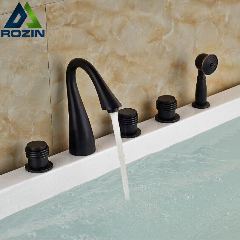 Luxury New 5pcs Bathtub Mixer Faucet with Brass Handshower Sprayer Deck Mount Tub Faucet 5 Holes
